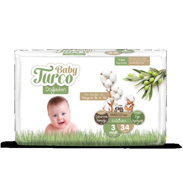 Baby Turco Midi 3 Beden Bebek Bezi 34 ADET