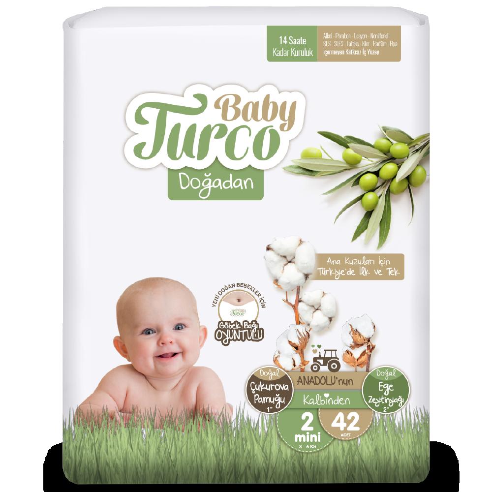 Baby Turco Doğadan Mini 2 Beden Bebek Bezi