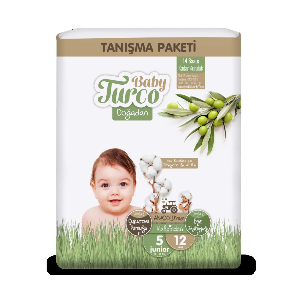 Baby Turco Doğadan Junior 5 Beden Bebek Bezi Tanışma Paketi