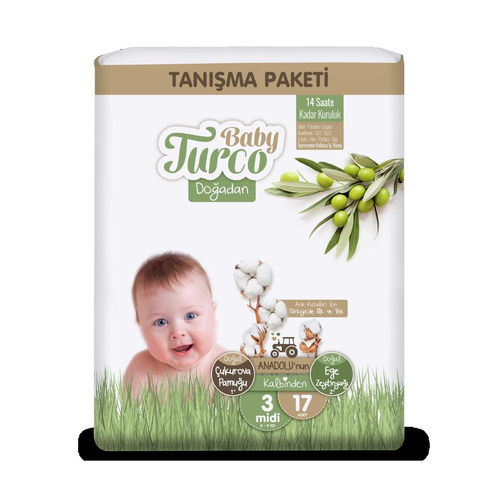 Baby Turco Doğadan Midi 3 Beden Bebek Bezi Tanışma Paketi