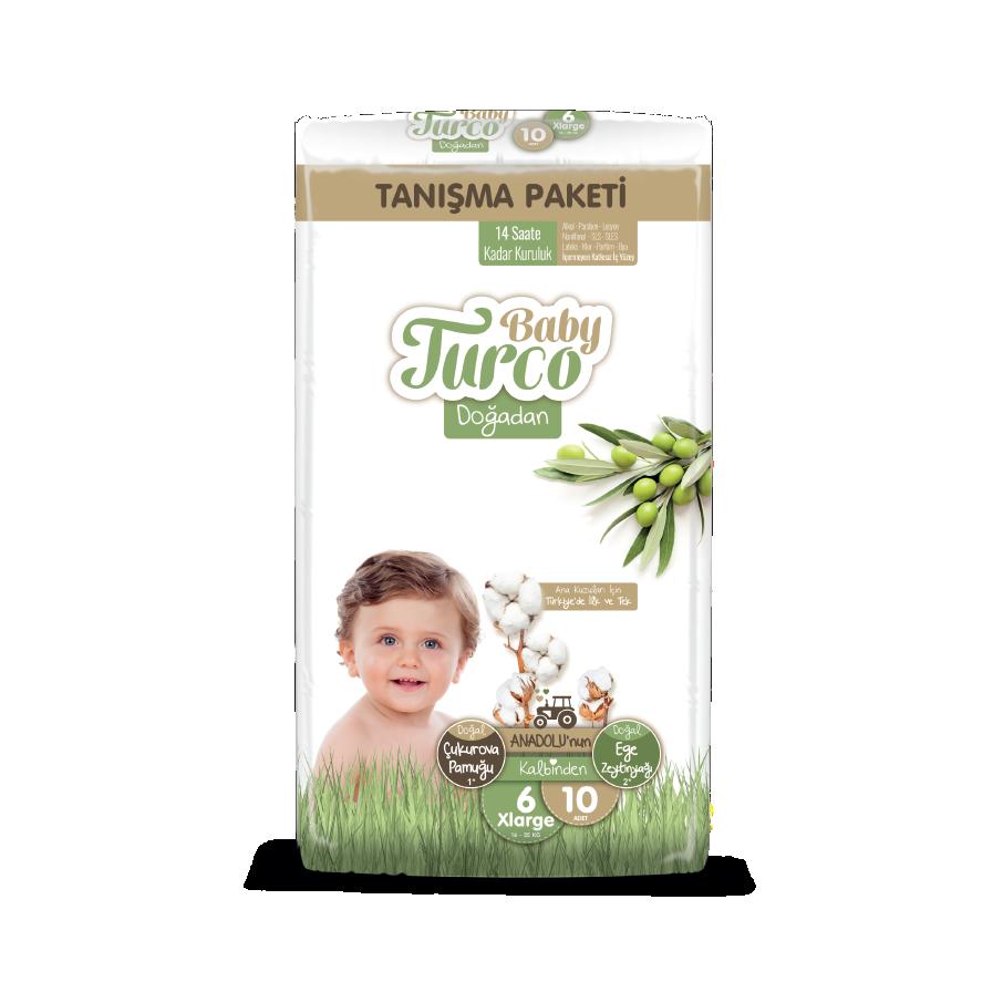 Baby Turco Doğadan Xlarge 6 Beden Bebek Bezi Tanışma Paketi