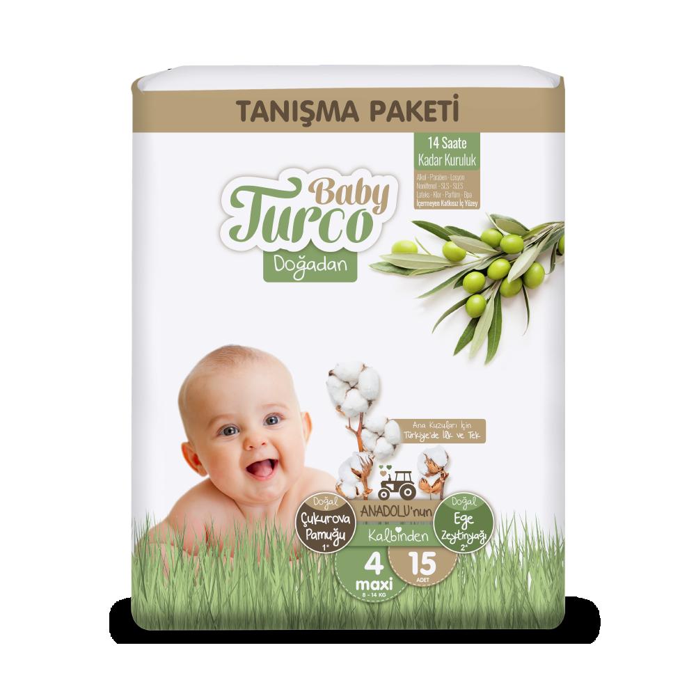 Baby Turco Doğadan Maxi 4 Beden Bebek Bezi Tanışma Paketi