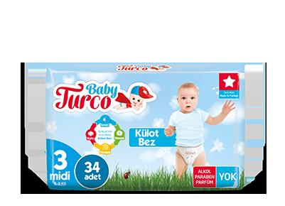 Baby Turco Midi 3 Beden Külot Bez 34 ADET