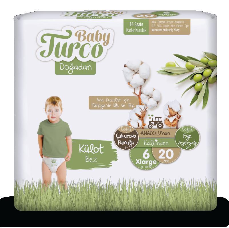 Baby Turco Doğadan Xlarge 6 Beden Külot Bez 20 ADET