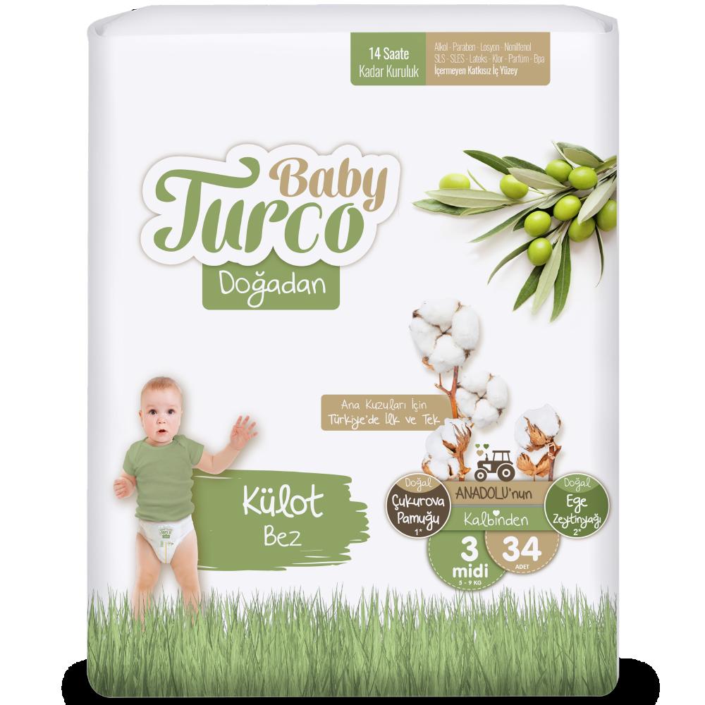 Baby Turco Doğadan Midi 3 Beden Külot Bez 34 ADET