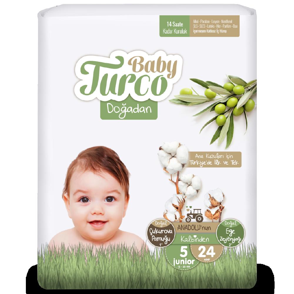 Baby Turco Doğadan Junior 5 Beden Bebek Bezi